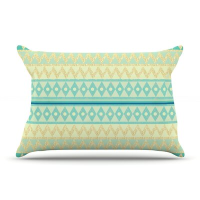 Glitter Chevron in Teal by Nika Martinez Featherweight Pillow Sham Size: King, Fabric: Woven Polyester