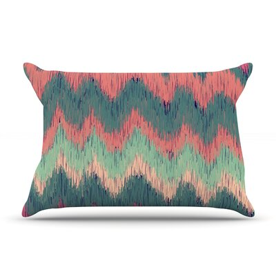 Nika Martinez Ikat Chevron Pillow Case Color: Red/Green