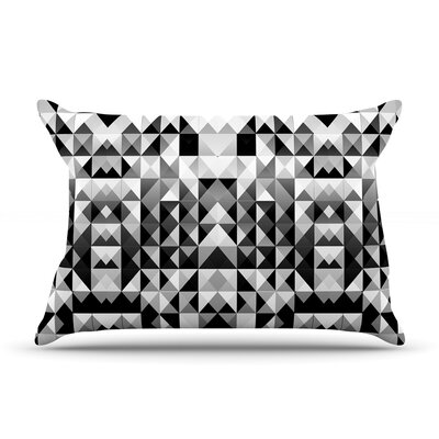 Geometrie Black & White by Nika Martinez Featherweight Pillow Sham Size: Queen, Fabric: Woven Polyester