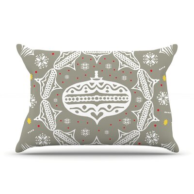 Deco Wreath by Miranda Mol Featherweight Pillow Sham Size: King, Color: Silver, Fabric: Woven Polyester