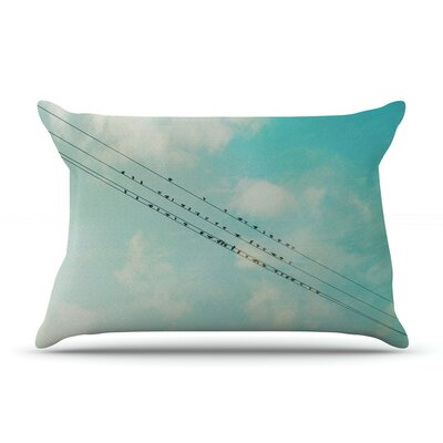 Birds on Wires by Sylvia Cook Featherweight Pillow Sham Size: Queen, Fabric: Woven Polyester