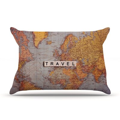 Travel Map by Sylvia Cook Featherweight Pillow Sham Size: Queen, Fabric: Woven Polyester