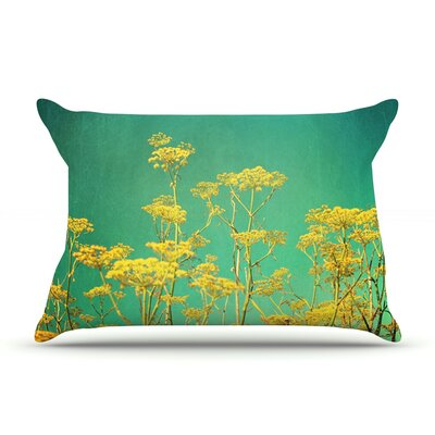Yellow Flowers by Sylvia Cook Featherweight Pillow Sham Size: Queen, Fabric: Woven Polyester