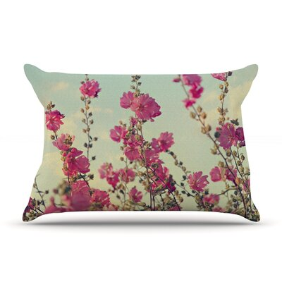 Pink Lavatera by Sylvia Cook Featherweight Pillow Sham Size: Queen, Fabric: Woven Polyester