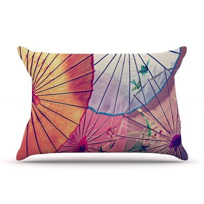 Colorful Umbrellas by Sylvia Cook Featherweight Pillow Sham Size: Queen, Fabric: Woven Polyester