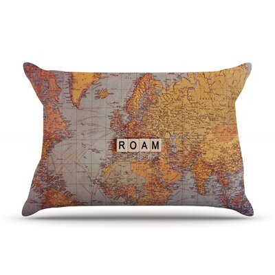 Roam Map by Sylvia Cook Featherweight Pillow Sham Size: Queen, Fabric: Woven Polyester