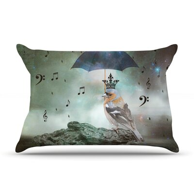 Umbrella Bird by Suzanne Carter Featherweight Pillow Sham Size: King, Fabric: Woven Polyester
