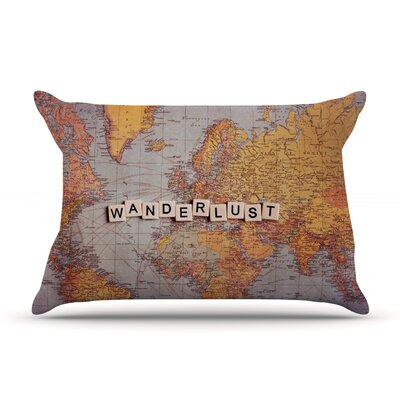 Wanderlust Map by Sylvia Cook Featherweight Pillow Sham Size: Queen, Fabric: Woven Polyester