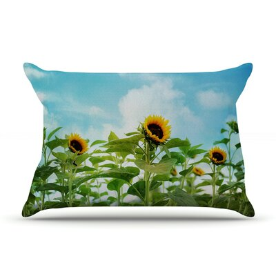 Sunflower Field by Sylvia Cook Featherweight Pillow Sham Size: Queen, Fabric: Woven Polyester