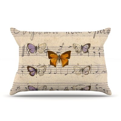 Butterfly Opera by Suzanne Carter Featherweight Pillow Sham Size: King, Fabric: Woven Polyester