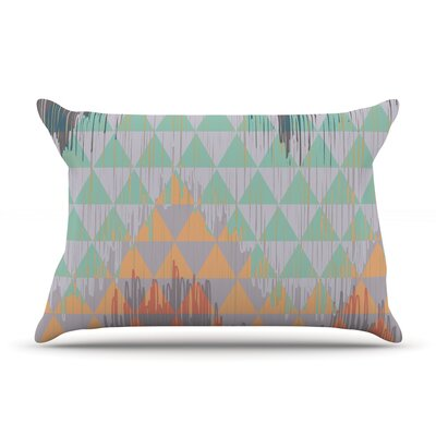 Nika Martinez Ikat Geometrie Pillow Case Color: Orange