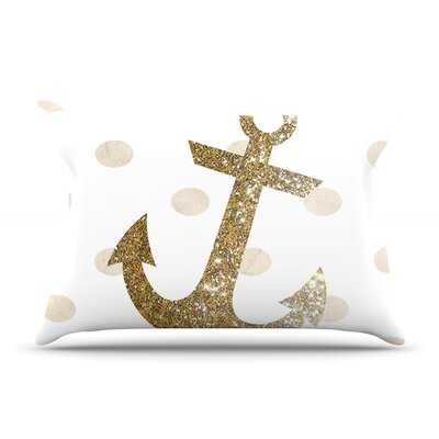 Glitter Anchor by Nika Martinez Featherweight Pillow Sham Size: King, Color: Gold, Fabric: Woven Polyester