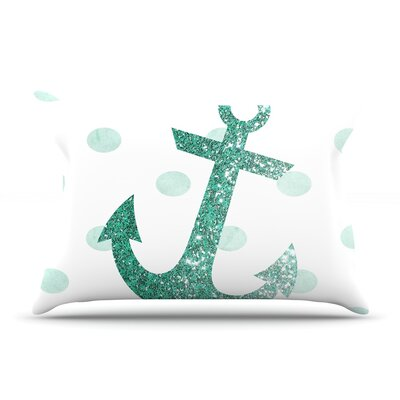 Nika Martinez Glitter Anchor Sparkles Pillow Case Color: Teal
