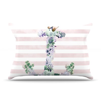 Nika Martinez Floral Anchor Stripes Pillow Case