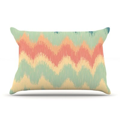 Nika Martinez Ikat Chevron Pillow Case Color: Teal