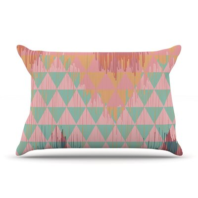 Nika Martinez Ikat Geometrie Pillow Case Color: Pink