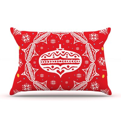 Deco Wreath by Miranda Mol Featherweight Pillow Sham Size: Queen, Color: Red, Fabric: Woven Polyester