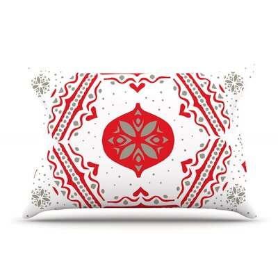 Snowjoy Green by Miranda Mol Featherweight Pillow Sham Size: Queen, Color: White/Red, Fabric: Woven Polyester