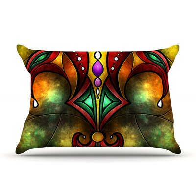 Red Fleur De Lis by Mandie Manzano Featherweight Pillow Sham Size: Queen, Fabric: Woven Polyester