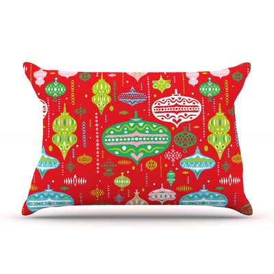 Ornate by Miranda Mol Featherweight Pillow Sham Size: King, Color: Red, Fabric: Woven Polyester
