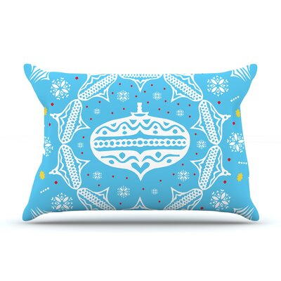 Deco Wreath by Miranda Mol Featherweight Pillow Sham Color: Blue, Size: King, Fabric: Woven Polyester