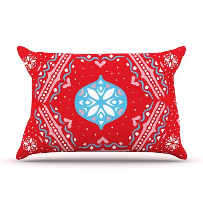 Snowjoy Green by Miranda Mol Featherweight Pillow Sham Size: Queen, Color: Red/Blue, Fabric: Woven Polyester