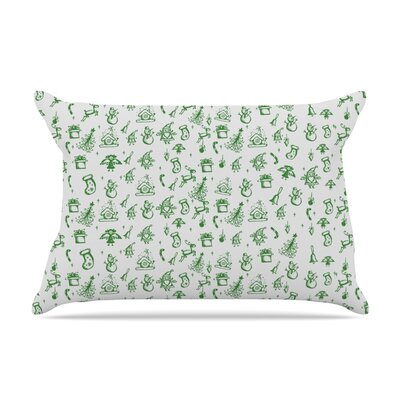 Miniature Christmas by Snap Studio Featherweight Pillow Sham Size: King, Color: Green/Gray, Fabric: Woven Polyester