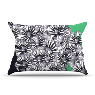 Flowers on Green by Sonal Nathwani Featherweight Pillow Sham Size: King, Fabric: Woven Polyester