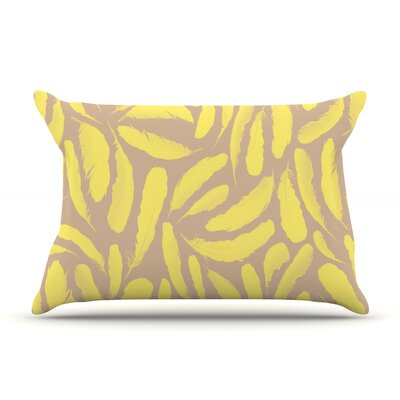 Yellow Feather by Skye Zambrana Featherweight Pillow Sham Size: King, Fabric: Woven Polyester