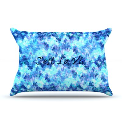 Ebi Emporium CEst La Vie Typography Pillow Case Color: Blue/Aqua