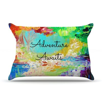 Ebi Emporium Adventure Awaits Painting Typography Pillow Case