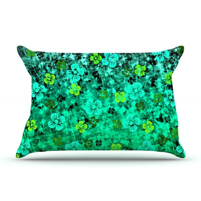 Ebi Emporium Flower Power Pillow Case Color: Green