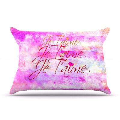 Ebi Emporium Je TAime Pastel Grundge Pillow Case Color: Pink