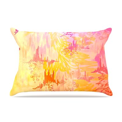Ebi Emporium Sky Risers Glam Pillow Case Color: Pink/Yellow