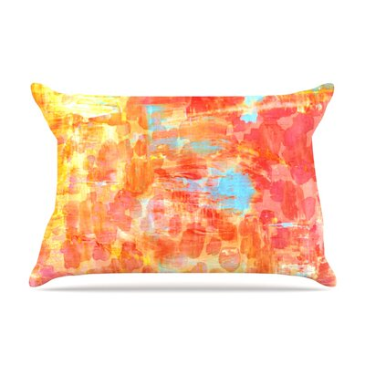 Ebi Emporium Pastel Jungle Pillow Case Color: Orange/Red