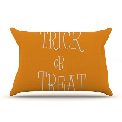 Trick or Treat Featherweight Pillow Sham Size: Queen, Color: White, Fabric: Woven Polyester
