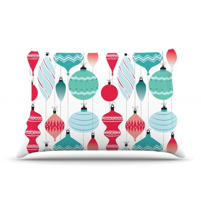 Mixed Ornaments Featherweight Pillow Sham Size: King, Color: Red/Blue, Fabric: Woven Polyester