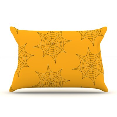 Spiderwebs Pillow Case Color: Yellow