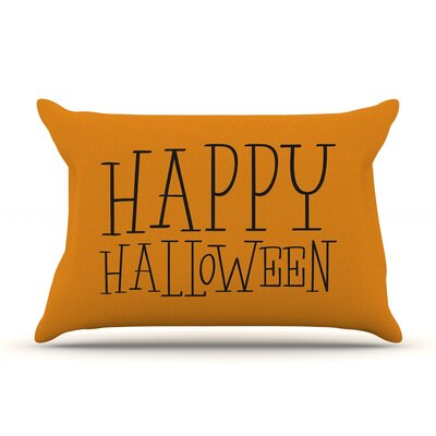 Happy Halloween Featherweight Pillow Sham Size: Queen, Color: Orange, Fabric: Woven Polyester