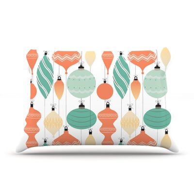 Mixed Ornaments Pillow Case Color: Orange/Teal