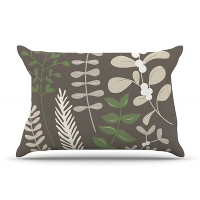 Deck The Hollies Pillow Case Color: Brown/Green