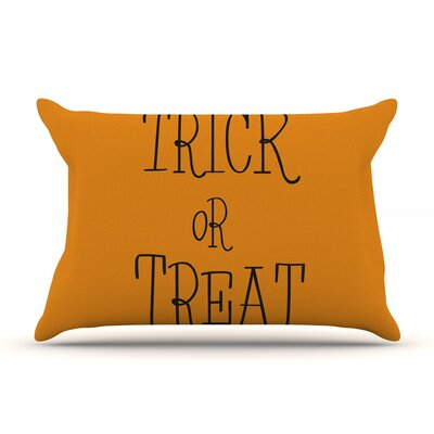 Trick or Treat Featherweight Pillow Sham Size: Queen, Color: Black, Fabric: Woven Polyester