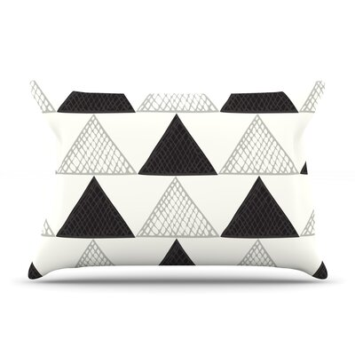 Textured Triangles by Laurie Baars Featherweight Pillow Sham Color: Black/White, Size: King, Fabric: Woven Polyester