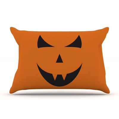 Pumpkin - Trick Featherweight Pillow Sham Size: King, Fabric: Woven Polyester