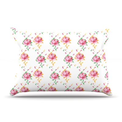 Cross Stitch Flowers by Laura Escalante Featherweight Pillow Sham Size: King, Fabric: Woven Polyester
