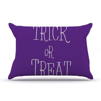 Trick or Treat Featherweight Pillow Sham Size: Queen, Color: Purple, Fabric: Woven Polyester