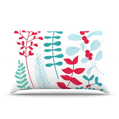 Deck the Hollies Featherweight Pillow Sham Size: King, Color: Red/Teal, Fabric: Woven Polyester