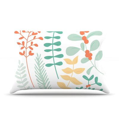 Deck The Hollies Pillow Case Color: Orange/Teal