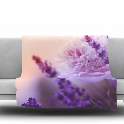 Peony and Lavender Fleece Throw Blanket Size: 80 L x 60 W