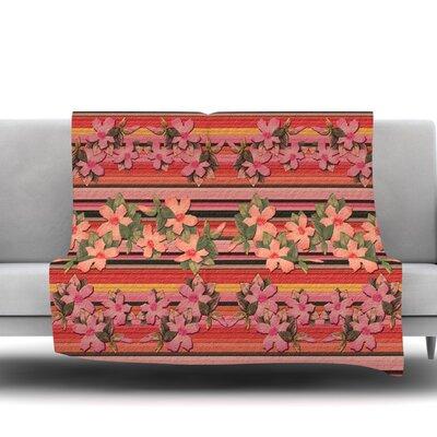 Peach Hibiscus Stripe Fleece Throw Blanket Size: 40 L x 30 W